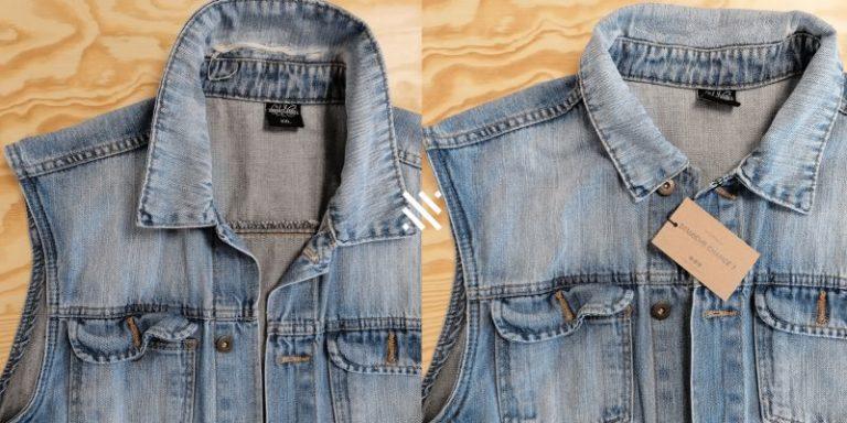 Veste jean sans manche (déchirure col)